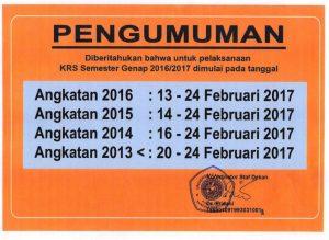 Jadwal Pelaksanaan KRS Semester Genap 2016/2017