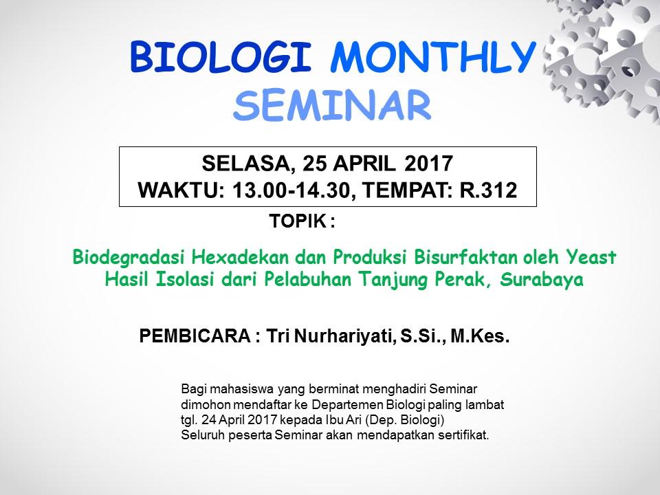Seminar Biologi bulan april 2017