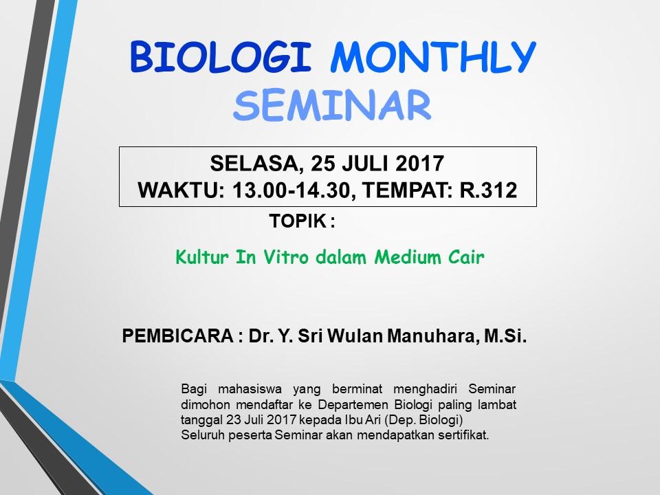 Seminar Biologi bulan Juli